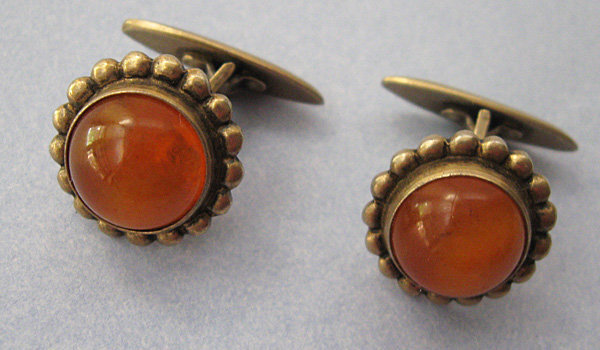 Russian Silver and Amber Cuff Links