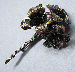 Coro Sterling Craft Flower Pin, c. 1950