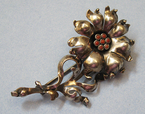 European Silver and Coral Flower Brooch