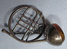Silver and Amber French Horn Pin