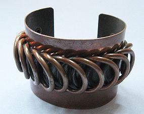 Rebajes Copper Cuff with Wire Decoration