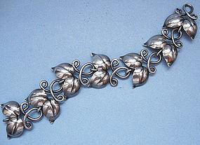 Swedish Sterling Bracelet of Linked Leaves