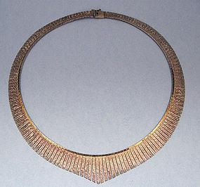 Italian Sterling Gilt Fringe Necklace