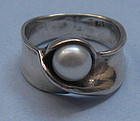 Sterling Band Ring Set with Pearl
