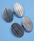 American Sterling Engraved Cuff Links, c. 1950