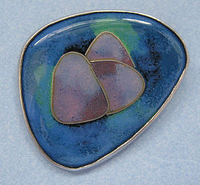 Enamel Glass and Sterling Pin