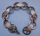 Italian Silver Bracelet of Textured Panels