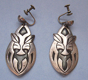 Sterling Mexican Earrings, Animal Faces