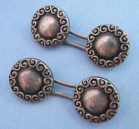 American Sterling Round Cuff Links, c. 1880