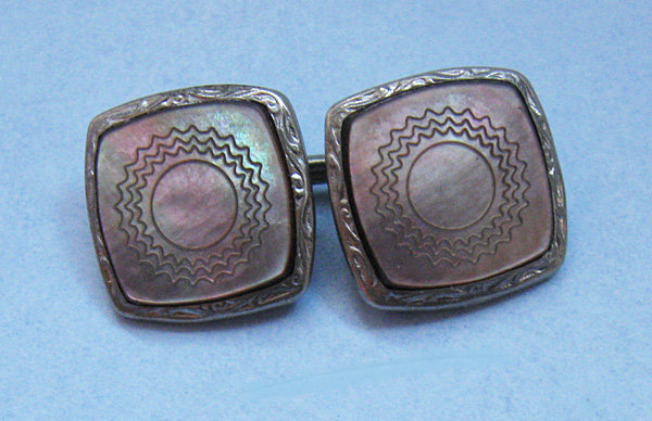 Carved Abalone Cuff Links