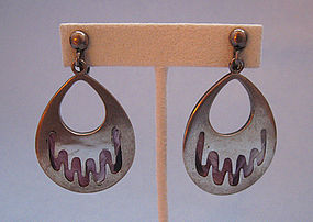 Mexican Sterling Earrings, Encased Feathers