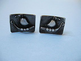 Danish Sterling Viking Ship Cuff Links
