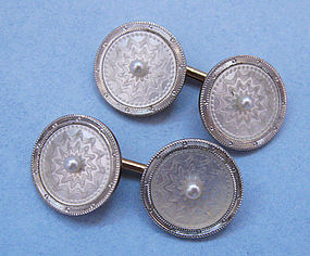 American Carved Mother-of-Pearl Cuff Links, c. 1920