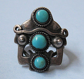 Mexican Handmade Sterling and Turquoise Ring