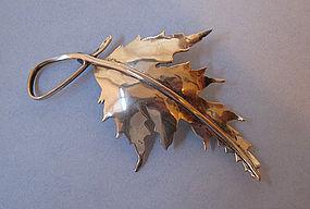 Handmade Sterling Leaf Pin