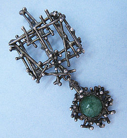 European Silver and Jade Pendant