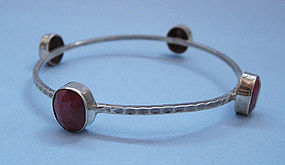 Sterling and Ruby Bangle