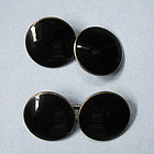 Sterling and Black Enamel Cuff Links