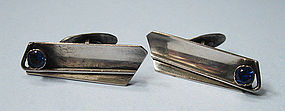 European Silver and Spinel Cuff Links
