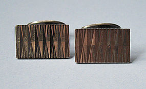 Danish Sterling Engraved Cuff Links, c. 1960