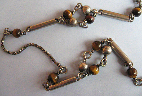 Silver and Tiger's Eye Chain Necklace