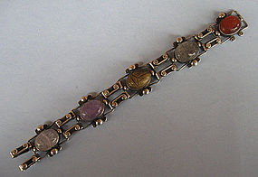 Sterling and Stone Scarab Bracelet