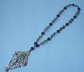 Sterling and Amethyst Glass Necklace