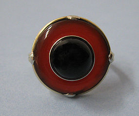 Gold, Carnelian and Onyx Ring