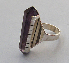 Sterling and Amethyst Geometric Ring