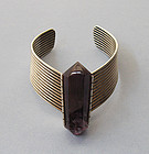 Sterling and Amethyst Geometric Cuff
