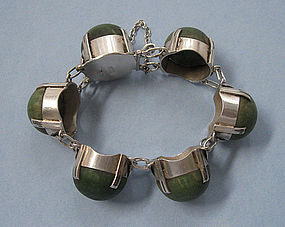 Mexican Sterling and Chalcedony Bracelet