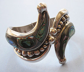 Mexican Sterling and Abalone Hinged Bangle