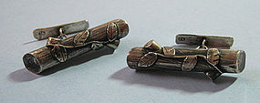 Polish Silver Naturalistic Cuff Links, c. 1990