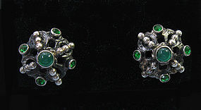 European Silver and Chrysoprase Earrings