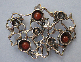 Electroform Silver and Carnelian Pendant