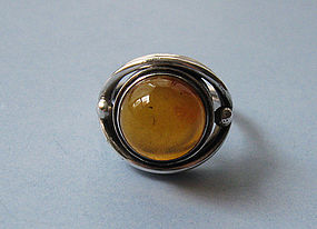Polish Silver and Amber Ring, c. 1975