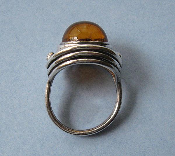 Polish Silver and Amber Ring, c. 1975