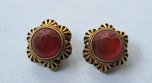 Sterling Gilt and Carnelian Earrings