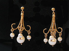 English Gold Chandelier Earrings, c. 1990