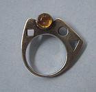 Flat-Band Ring with Amethyst, Citrine, c. 1970