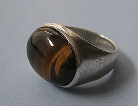 Mexican Sterling and Tiger�s Eye Ring, c. 1970