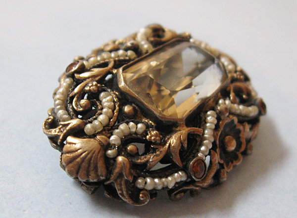 Hungarian Silver Gilt and Citrine Brooch