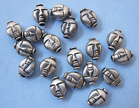 Sterling Face Beads, c. 1960