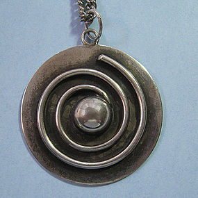 Sterling Disc Pendant and Chain