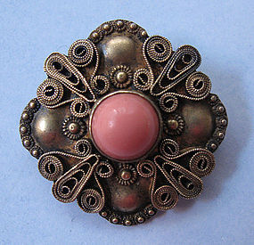 Sterling and Faux Coral Wirework Pin