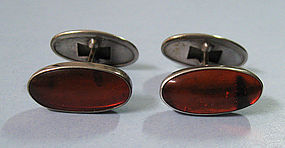 European Silver and Amber Cuff Links