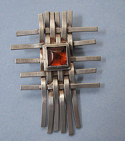 Sterling and Amber Basketweave Pin