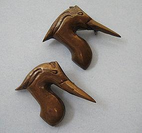 Pair of Mixed Metal Bird Pins, c. 1950