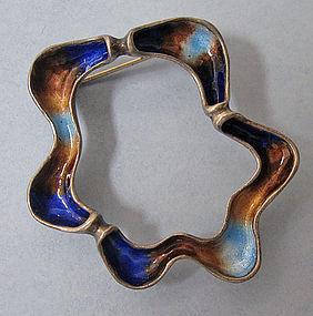 Silver and Enamel Pin/Pendant, c. 1960