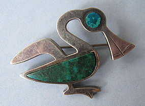 Peruvian Sterling and Enamel Glass Pin, c. 1955